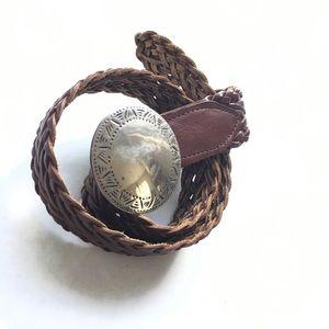 Vintage Brown Weave Leather Belt